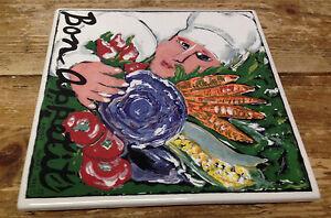 Nancy Thomas Bon Appetit Chef Vegetables Tile Santa Barbara Ceramic Signed 1994