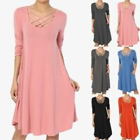 TheMogan S~XL Strappy Scoop Neck 3/4 Sleeve Pocket Trapeze Flared T-Shirt Dress