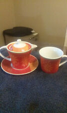 Tea Set Red Gold Sunburst Stars 4 Pieces Teacup, pot with lid and plate