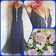 Kaleidoscope vtg blue black lace bead sequin 20s deco gatsby evening dress  20