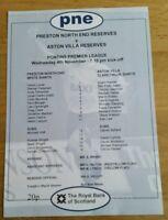 Preston North End Res v Aston Villa Res 04/11/98 Programme Excellent Condition
