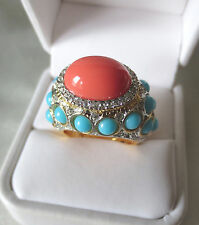 Kenneth Jay Lane Coral Center w/Turquoise Sides Cabochon Dome Cocktail Ring NEW
