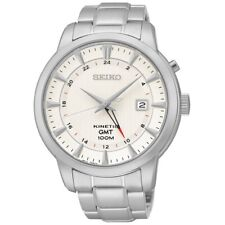 Seiko Kinetic GMT SUN029 P1 Silver/White Dial Automatic Men's Analog Watch