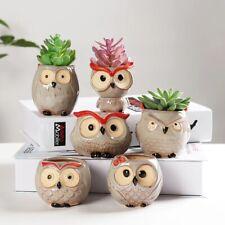 Owl Succulent Plant Pots Cute Animal Ceramic Planter Home Garden Decor
