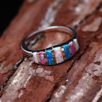 Elegant Women 925 Silver Wedding Rings Multi-color Opal Ring Jewelry Size 6-10