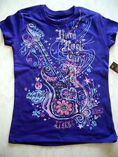 HRC HARD ROCK CAFE Atene Athens Athena Purple Guitar shirt Youth M 134-140 Girls