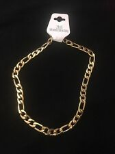 """9.5mm 16"""" Long Stainless Steel Figaro necklace Chain Pendant Gold Clr stnF9.5G"""