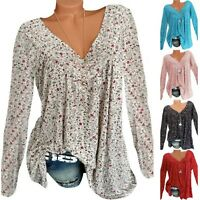 Womens Long Sleeve Boho Blouse V Neck Casual T Shirt Loose Tops Plus Size Tee