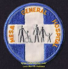 LMH PATCH Badge MESA GENERAL HOSPITAL Medical Health Care White Blue Cross CLOSE