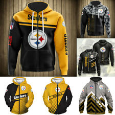 Pittsburgh Steelers Hoodie Full Zip Hooded Men Casual Jacket Football Sweatshirt