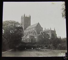Glass Magic Lantern Slide WELLS CATHEDRAL FROM THE SWAN POOL NO.2 C1900  L90