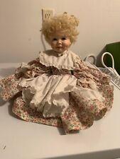 Handmade Girl Porcelain Doll Blond Curly Hair Sitting Floral Dress