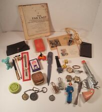 Vtg Junk Drawer Lot Dice Coins Letter Opener NRA Belt Buckle Watches Pens Mickey