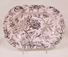 NEW 222 FIFTH ADELAIDE PINK+METALLIC SILVER+BIRD PORCELAINE OVAL PLATE,PLATTER.D