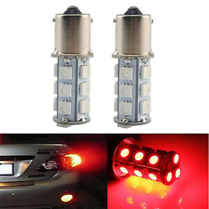 #1156 18SMD Red LED Park Parking Tail Light Turn Signal Reverse Lamp Bulbs Pair