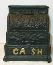 "Vintage Junior Cast Iron Cash Register Coin Bank 5"" Tall"