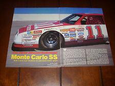MONTE CARLO SS JUNIOR JOHNSON AERO COUPE  - ORIGINAL 1986 ARTICLE