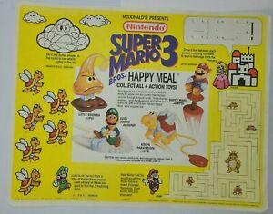 McDonald's Happy Meal Nintendo Super Mario Bros 3 Tray Cover Placemat 1990 RARE!