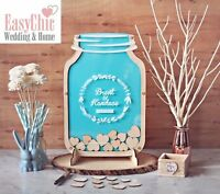 Personalised Wedding Guest Book Alternative Wooden Hearts Drop Mason Jar Box