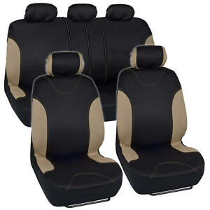 Car Seat Covers for Auto Sedan SUV 9 PC New Design Set Beige Split Bench