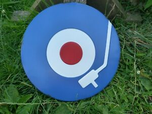 """Round Coloured Metal """"Record"""" Design Wall Hanging Plaque Sign W30cm D2.5cm"""
