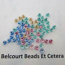 1000 Beads Mixed Blue Pink Gold Green Metallic Lined Pony Glass Czech Beads 6/0