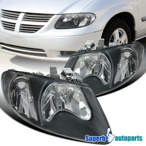 For 2001-2007 Dodge 01-07 Caravan Chrysler Town & Counry Black Headlights