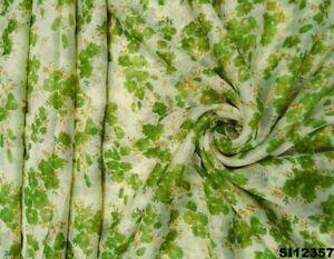 Indisch Frauen Sari Polyester Kunst Kleid Grün Blumen Wickeln DIY Saree SI12357