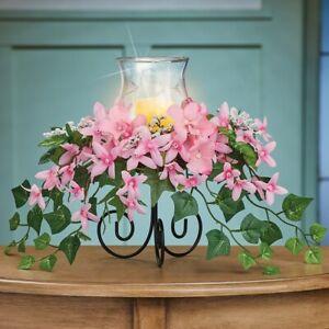 Kaskadierend Pink Blumen Glas Hurricane Kerzenhalter Ostern Tisch Mittelstück