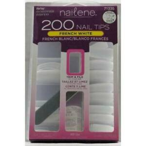 Fing'rs Nailene Full Cover Nails, FRENCH WHITE with Glue 200 ea
