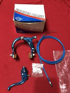 NOS BLUE FRONT DIA COMPE 880 BRAKE WITH DATED CABLE TECH 4 LEVER OLD SCHOOL BMX