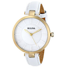 Bulova 97L140 Women's Dress Classic White Ceramic Dial White Leather Band Watch