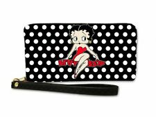 Betty Boop Black With White Polka Dots Zipper Wristlet Wallet - Licensed New