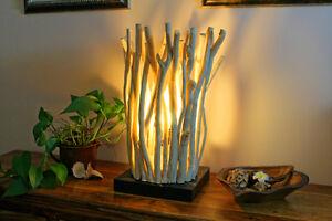 Treibholz Lampe Tischlampe Holz Tischleuchte Schwemmholz Unikat Design Leuchte