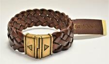 """New Original Card Signed GUESS Brass tone Braided Brown Leather 8 3/4"""" Bracelet"""