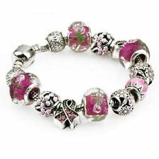 Girls Women Silver Plated Crystal Rhinestone Bead Charm Bracelet Bangle Gift