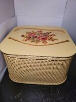Vintage Sewing Basket Princess Wicker 1940s-50s Decals Square Yellow  Rare 💛