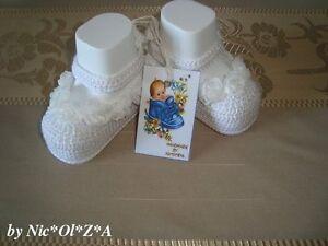 NEWBORN BABY GIRLS CRIB SHOES BOOTIES SLIPPERS HANDMADE CROCHET WHITE GIFT IDEA