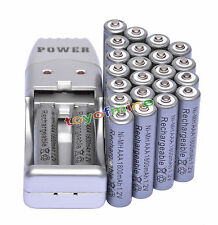 24 X AAA 3A 1800mah1.2V NiMH rechargeable battery Grey+USB Charger