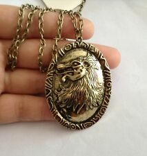 Game of Thornes Queen Cersei Lannister Bronze Lion Head Pendant Necklace CosPlay