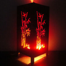 Asian Oriental Red Japanese Bamboo Trees Art Bedside Table Lamp Lighting Shades