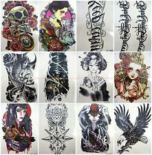 12 sheets Skin Art large arm back check thigh leg temporary tattoo(code a1-2)