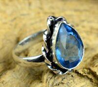 Blue Topaz Gemstone 925 sterling silver overlay handmade gift Rings  SR21