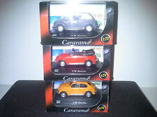 3 x VOLKSWAGEN BEETLE  1:72 CARARAMA. NEW IN BOX.
