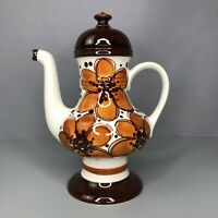 Vintage Schramberg Hyde Park Orange Flower Pattern 5811 Tea Coffee Pot Retro