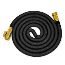 "25FT Garden Hose Garden Hose Reels with 3/4"" Solid Brass Connector, Black"