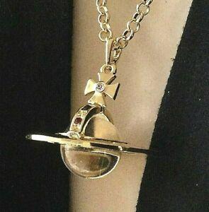 Saturn Necklace Celestial Jewelry Rhinestone Pendant Glass Orb Centerpiece