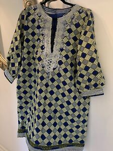 Premium African Ankara print mini dress with embroidery, side pockets