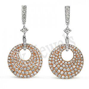 CHRISTMAS 3.91ct NATURAL ROUND DIAMOND 14k YELLOW WHITE GOLD DANGLER EARRING