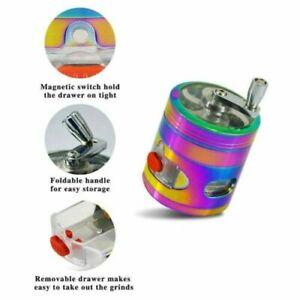 "2.4"" 4 Part Rainbow Tobacco Herb Spice Grinder W/ Handle Crank & Drawer Crusher"